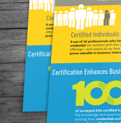 ASA certification programs infographic and marketing postcard